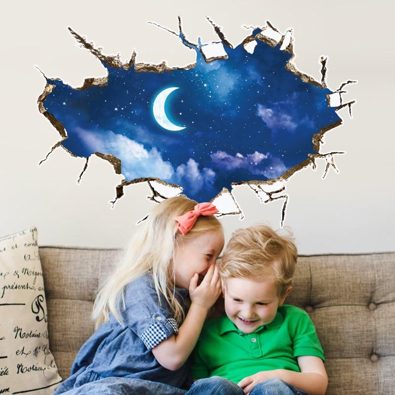 Night Moon Sky Wall Stickers Broken Hole 3D Kids Rooms Bedroom Background Home Decor Art Decals Landscape False Windows Stickers