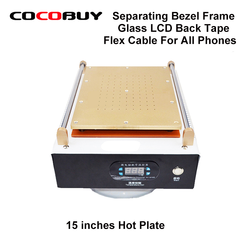 Built-in Pump 14.5 inches Hot Plate Screen Separator Separate Bezel Frame Front Glass LCD BackTape Flex Cable for iPhone Samsung