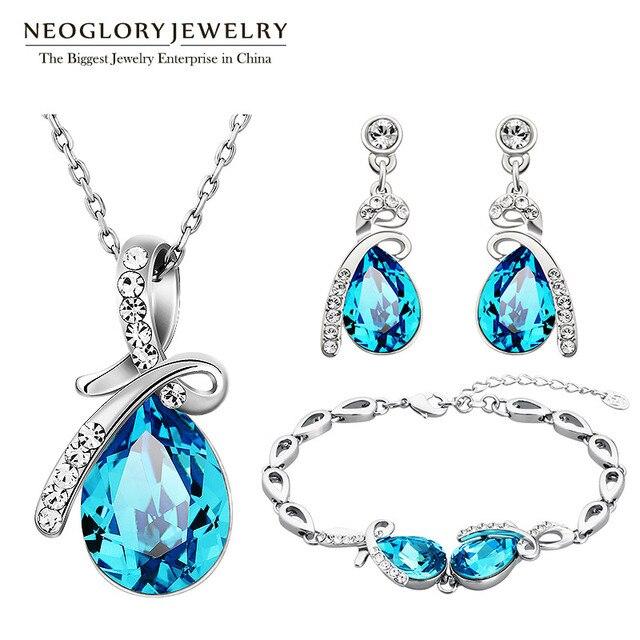 Neoglory avusturya kristal mavi takı seti düğün gelin Charm doğum günü hediyeleri için kız arkadaşı kadınlar 2020 yeni JS11