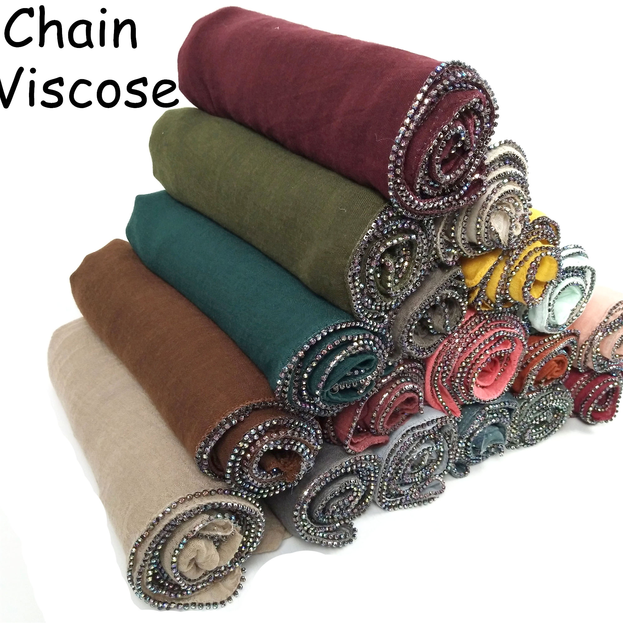 K12  New Stock Gold Beads Muslim Cotton Scarves Chain Plain Wraps Shawls Maxi Fashion Headband Long Scarves 180*80cm