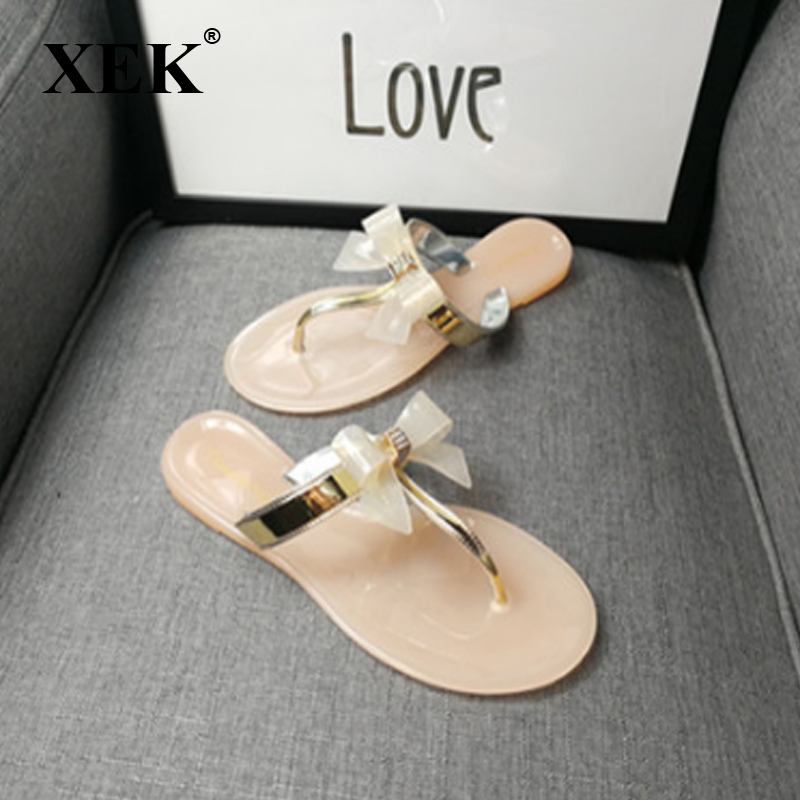 8230a4fa5 Detail Feedback Questions about XEK Women Shoes Jelly Jelly Flip Flop  Sandals Ladies Flat Shoes Bow tie Sandal for Female GSS88 on Aliexpress.com