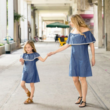 Mother and Infant Girl Matching Off the Shoulder Denim Dress