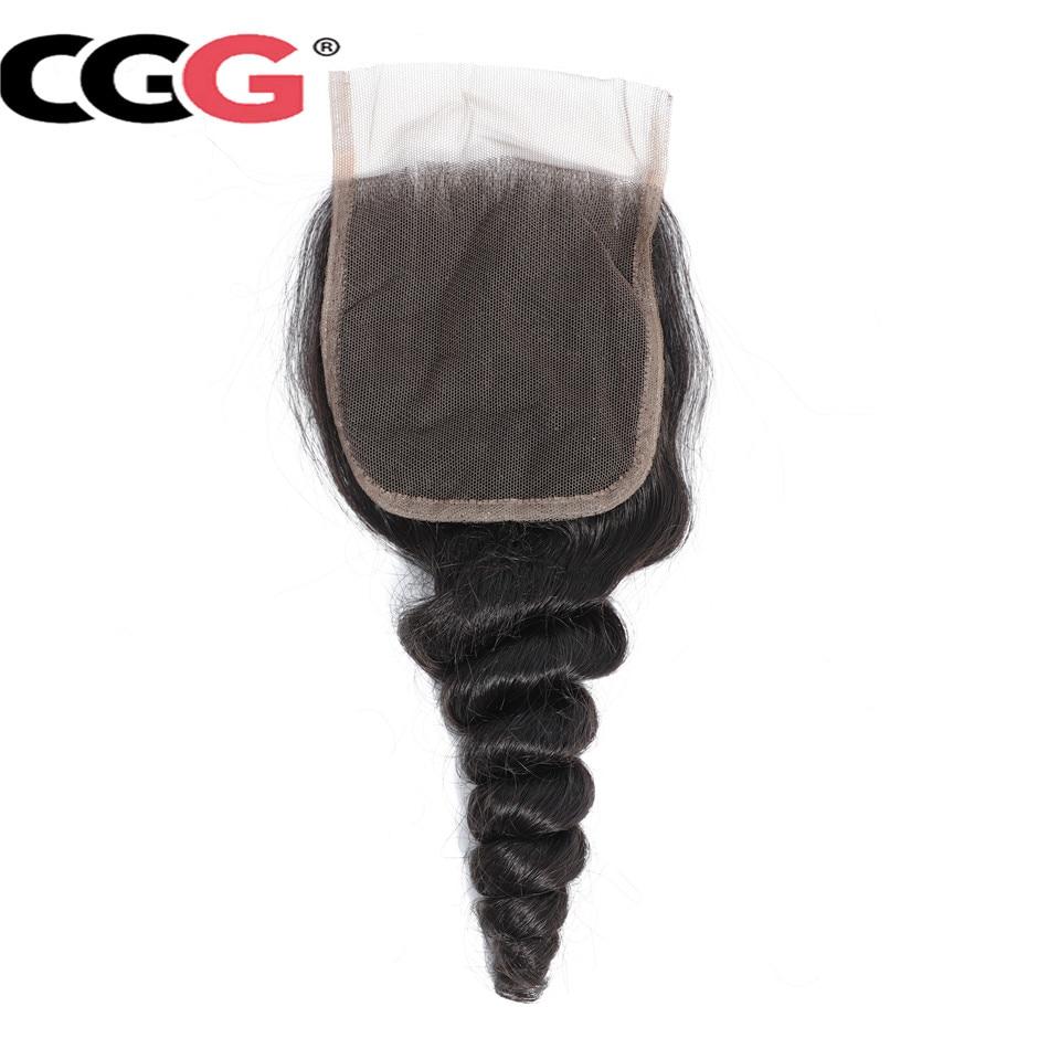 CGG Hair Peruvian Non-Remy-Hair Lace Weaving Closure Loose-Wave Natural-Color 100%Human-Hair
