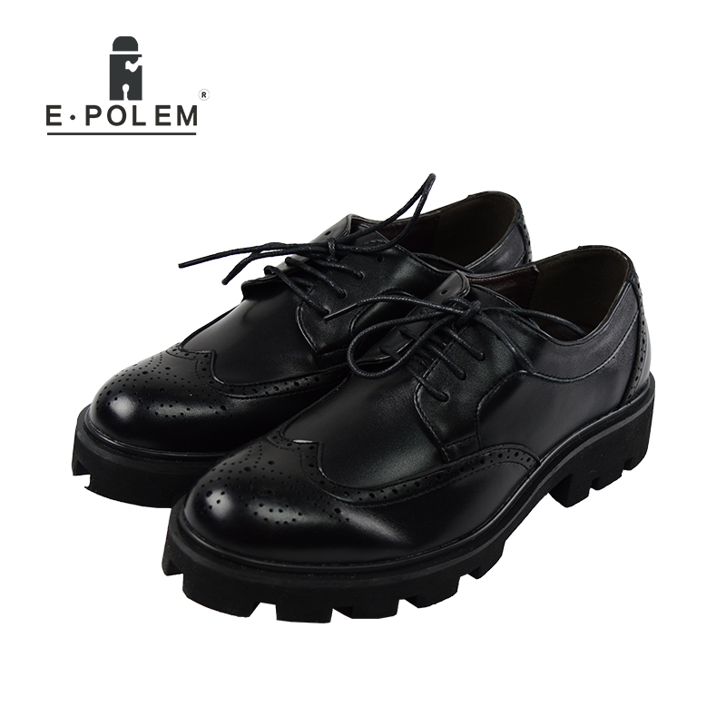 2017 Autumn Men's Carved Brogue Shoes Breathable Fashion Embossed British Men Leather Thick Bottom Casual Lace Up Shoes 2017 new spring imported leather men s shoes white eather shoes breathable sneaker fashion men casual shoes