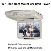 13 Inch Roof Mount Car DVD Player With Built In IR FM Transmitter And MP5 USB