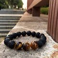 2016 New Diy Trendy Bracelets For Men Black Lave Stone Northskull Men Bracelets Lava Stone & Tiger Eyes Stone Jewelry Gift
