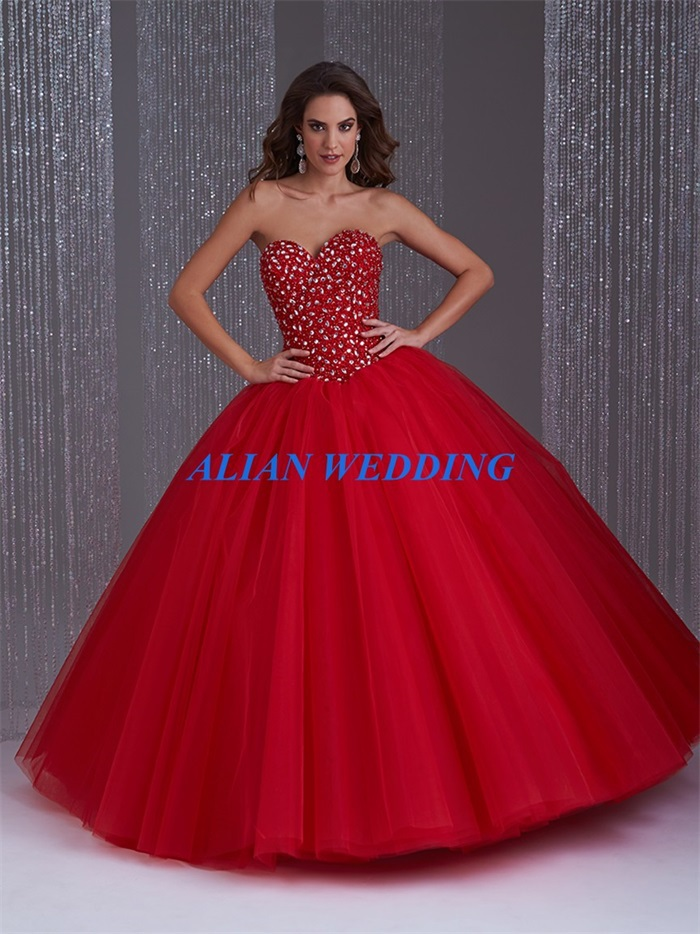 Popular 2015 Quinceanera Dresses Ball Gown Red-Buy Cheap 2015 ...