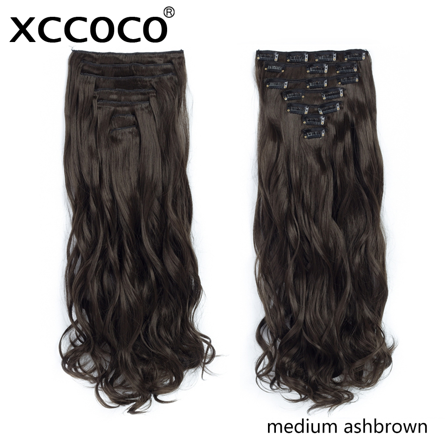XCCOCO 20 tum Lady Long Curly 16 Clip In Hair Extension Syntetisk - Syntetiskt hår