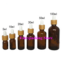 5ml10ml15ml20ml30ml50ml100ml Bamboo Amber Aromathrapy Essential Oil Dropper Vials, Brown Cosmetic Perfume Reagent Glass Pipette