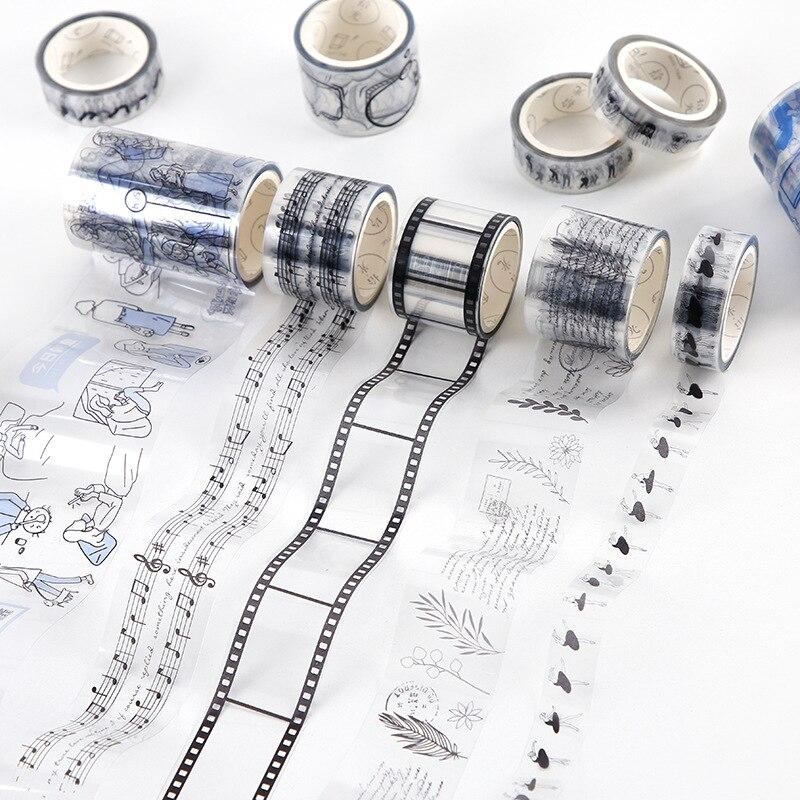 INS Style Transparent PET Washi Tape Decorative Adhesive Tape Decora Diy Scrapbooking Sticker Label Japanese Stationery