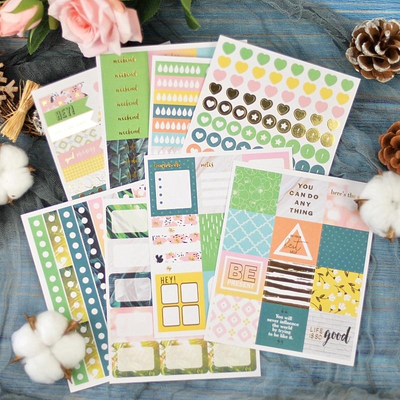 Lovedoki Tropical Forest Sticker Notebook Planner Accessories Decorative Scrapbook Stickers School Supplies Stationery Store