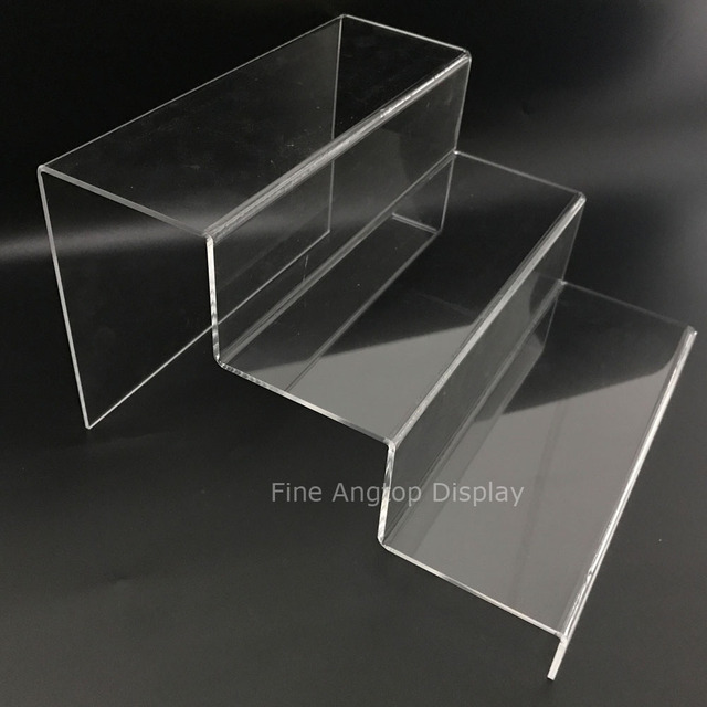 Clear Acrylic Riser Step Display 3 Tier Minerals Fossils Shelf Sungles Small Toys Show Stand