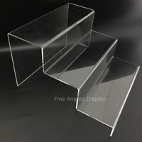 Clear Acrylic Riser Step Display 3 Tier Minerals Fossils Display Shelf Sunglasses Small Toys Show Stand Exhibition Display