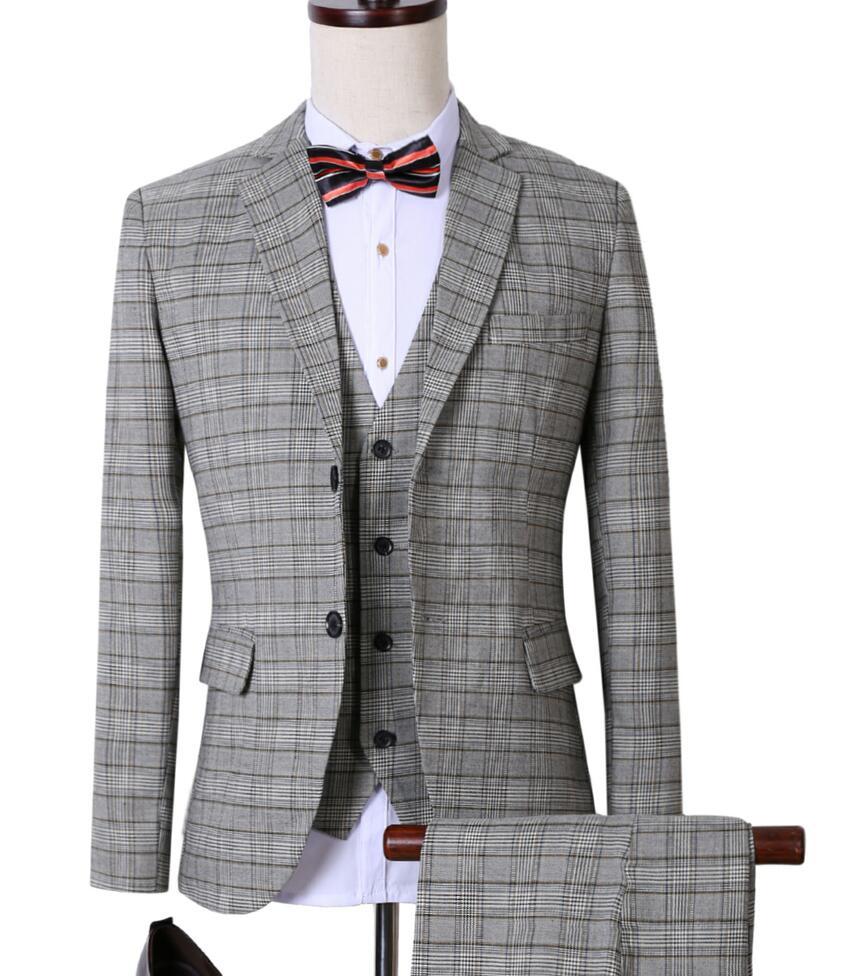 New Fashion Men Suits Blazer Light Gray Plaid Single