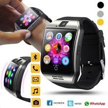 Стильные часы с функцией «Bluetooth» Для мужчин Смарт-часы Q18 с Сенсорный экран большой Батарея Поддержка сим-карта TF Камера для умные часы для телефона на Android PKX6