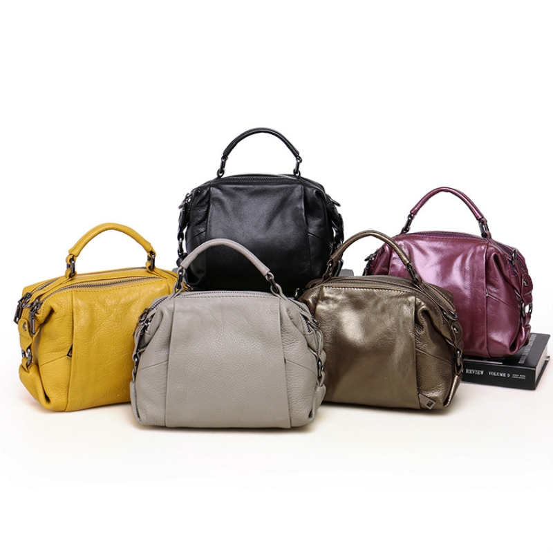 Famous Brand Women Boston Bag Genuine Cowhide Leather Tote bag Handbags High Quality Vintage ladies Messenger Bags Shoulder Bags new genuine leather bags for women famous brand boston messenger bags handbags tassel tote hand bag woman shoulder big bag bolso