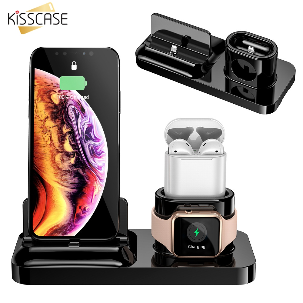 KISSCASE 3 in 1 Wireless Charger for iPhone X XR 8 Apple