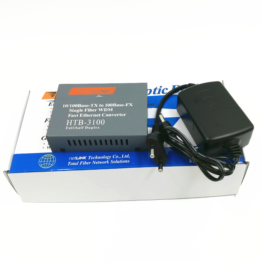 1PCS HTB-3100 A Side 10/100M Single Mode 1310nm 25KM Simplex Fiber Optic RJ45 Optical Fiber Media Converter