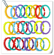 24pcs Baby Teether Toy Baby Rattle Colorful Rainbow Rings Crib Bed Stroller Hanging Decoration Toys Gift for children Baby