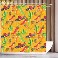 Stylish Shower Curtain Mexican Decorations Elements with Cactus Hat Chili Pepper Pattern over Grunge Background Print Multi