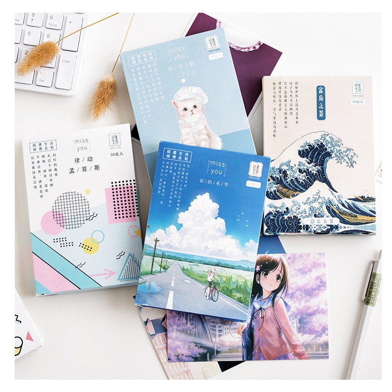 30 Sheets/Set Anime Your Name Lovely Animals Series Postcard Greeting Card Birthday Gift Card Message Card