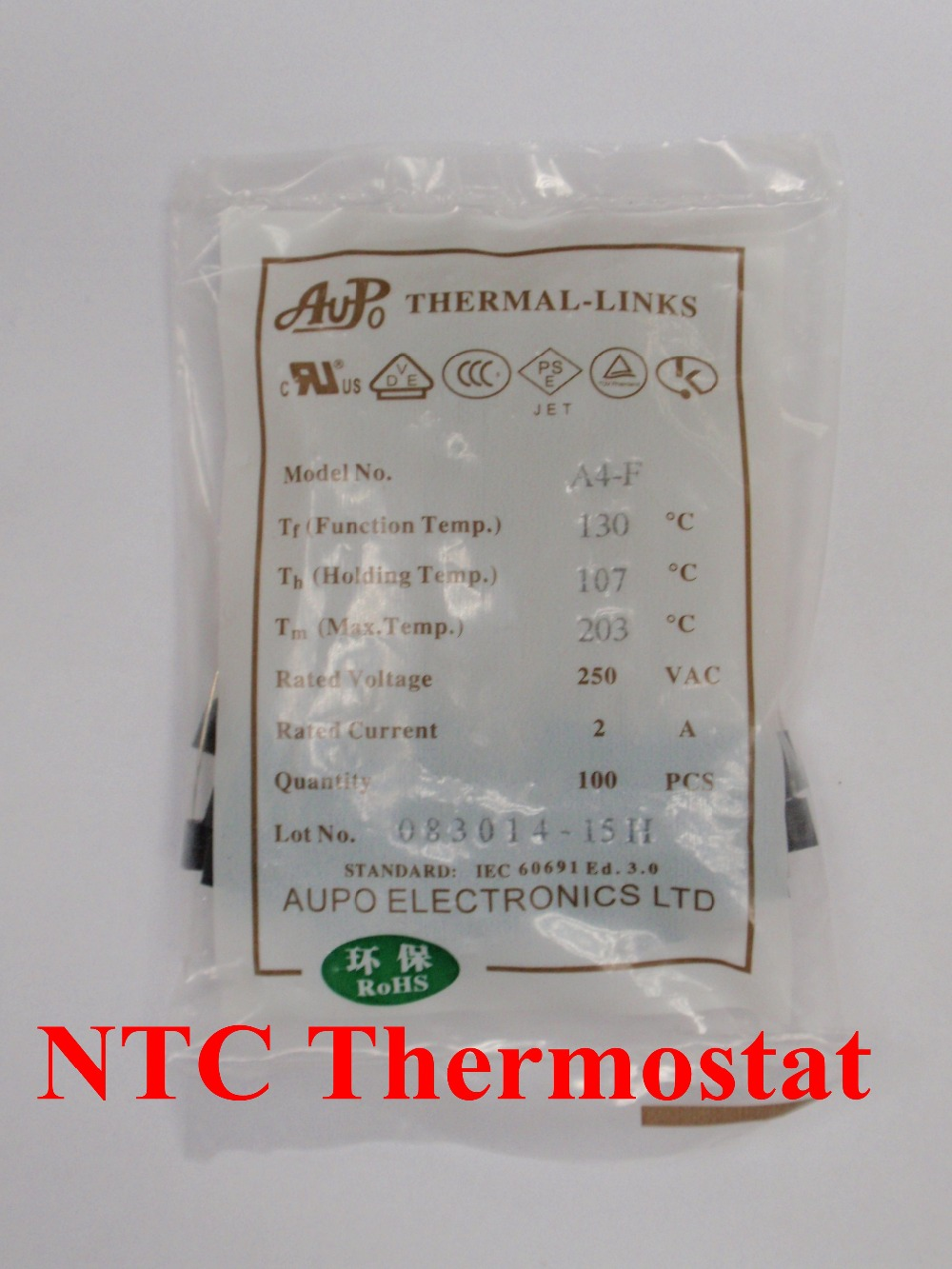100pcs A4 F 130C 3A 250V degree Thermal Cutoff RH130 Thermal Links Black Square temperature fuse in Fuses from Home Improvement