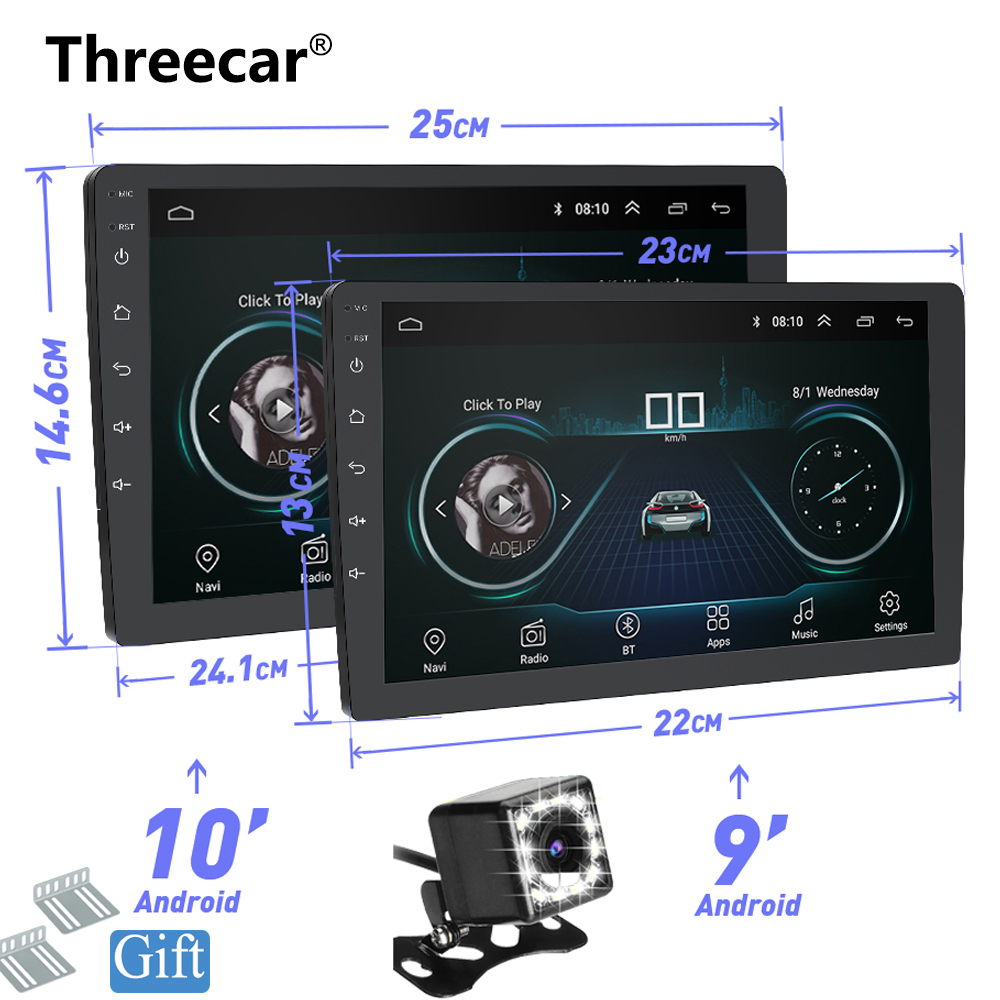 9 10 pouces Android 8.1 GPS Navigation Autoradio multimédia lecteur DVD Bluetooth WIFI MirrorLink OBD2 universel 2Din Autoradio