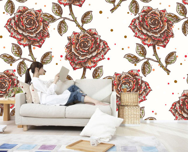 Vintage Wallpaper Custom 3D Wall Mural Hand Painted Rose Flower Photo Wallpaper  Room Decor Kids