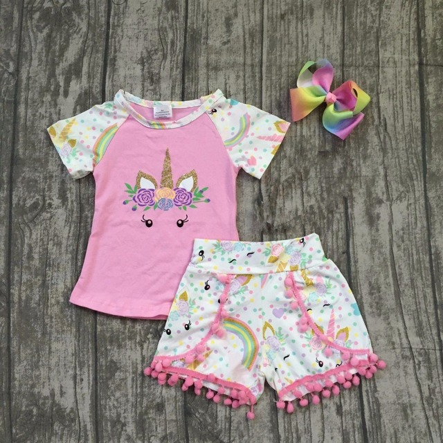baby girls summer clothes children girls unicorn boutique outfits girls  unicorn pink top with unicorn shorts with matching bow 62be40653a