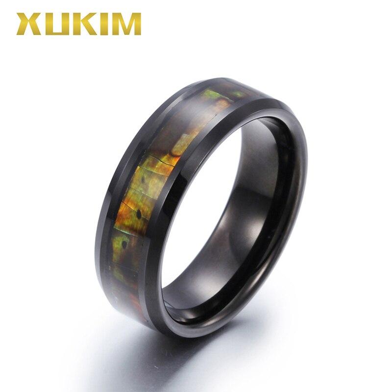 TSR206 Xukim bijoux en acier inoxydable anneau noir bande hommes anneaux de mariage tungstène hommes anneau rétro anneau