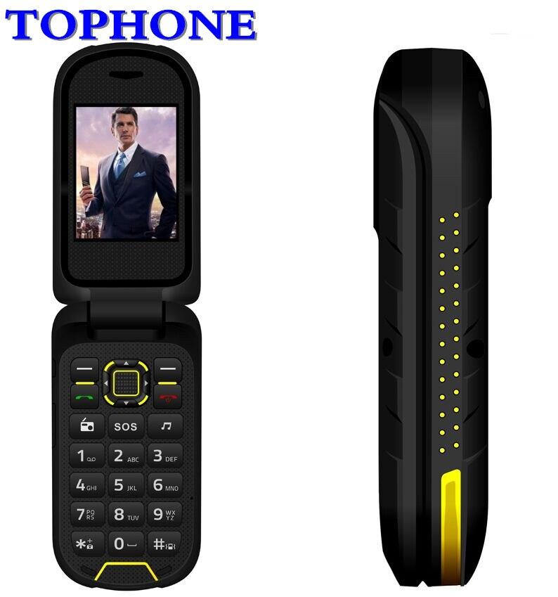 Ioutdoor F2 Mobile Téléphone Flip Double Affichage Station D'accueil SOS Torche LED Haute 2.4 IP68 Étanche Robuste Dual SIM téléphone portable