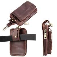 Belt Clip Man Genuine Cow Leather Mobile Phone Case Pouch For Vodafone Smart Platinum 7 Prime
