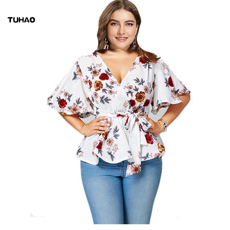 e9588a3021c9 TUHAO 2018 verano gasa blusas 5XL 4XL blusa estampado Floral bohemio  Oficina señora blusa Flare ...