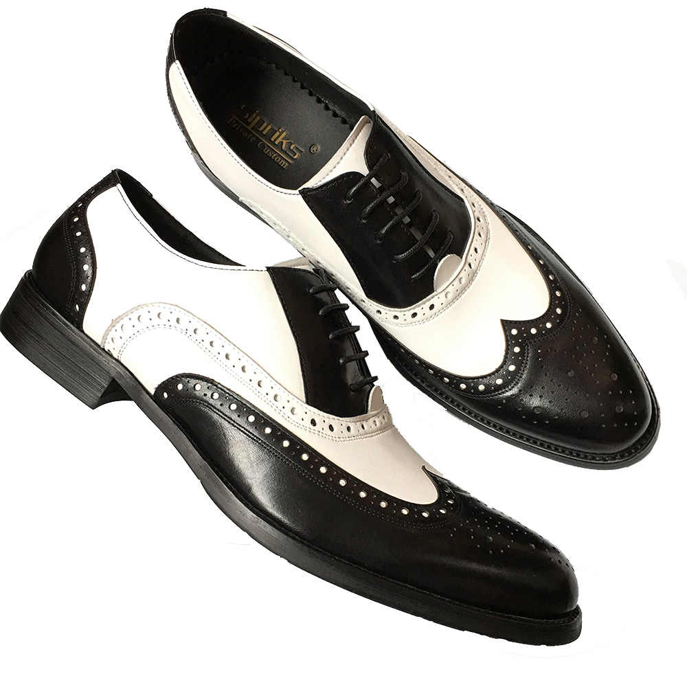 e39fd8a968 ... Sipriks Mens Black White Wingtip Dress Shoes Spectator Oxfords Men  Shoes Brown White European Business Gents ...