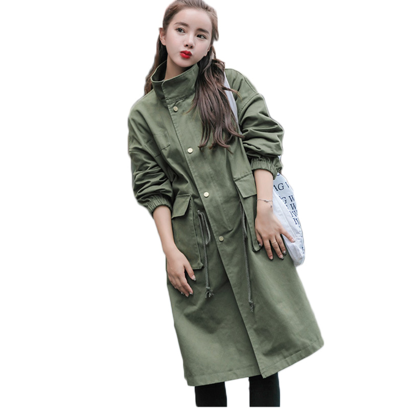 Womens trench coat 2018 spring and autumn windbreaker female long green coat loose wild drawstring ladies tooling trench coat