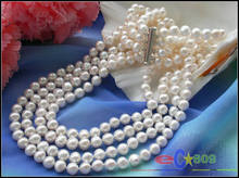 4 Strands  20″ 8 mm white round freshwater cultured pearl neckalce