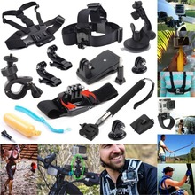 For Gopro Set for Wrist Chest Head Strap Mount Floating Grip Clip Clamp Telescopic Monopod Stick for Hero four three 2 SJ4000 xiaomi yi