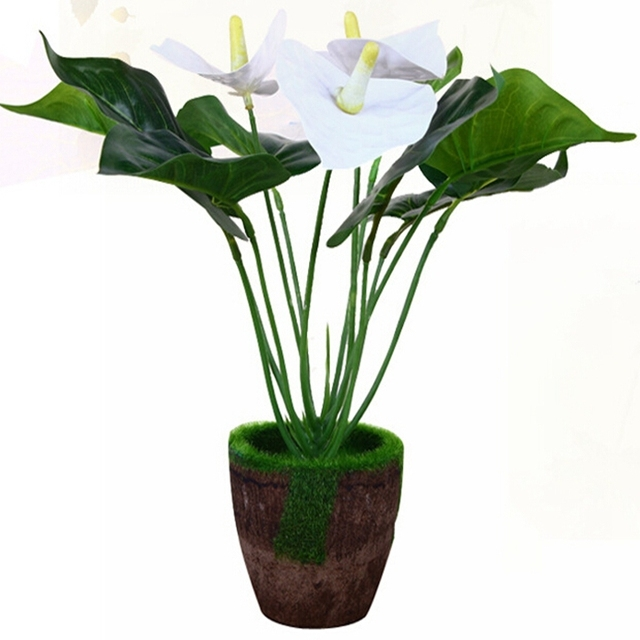 Latex Fabric Artificial Calla Lily Flower Plant Tree In Wood Pot