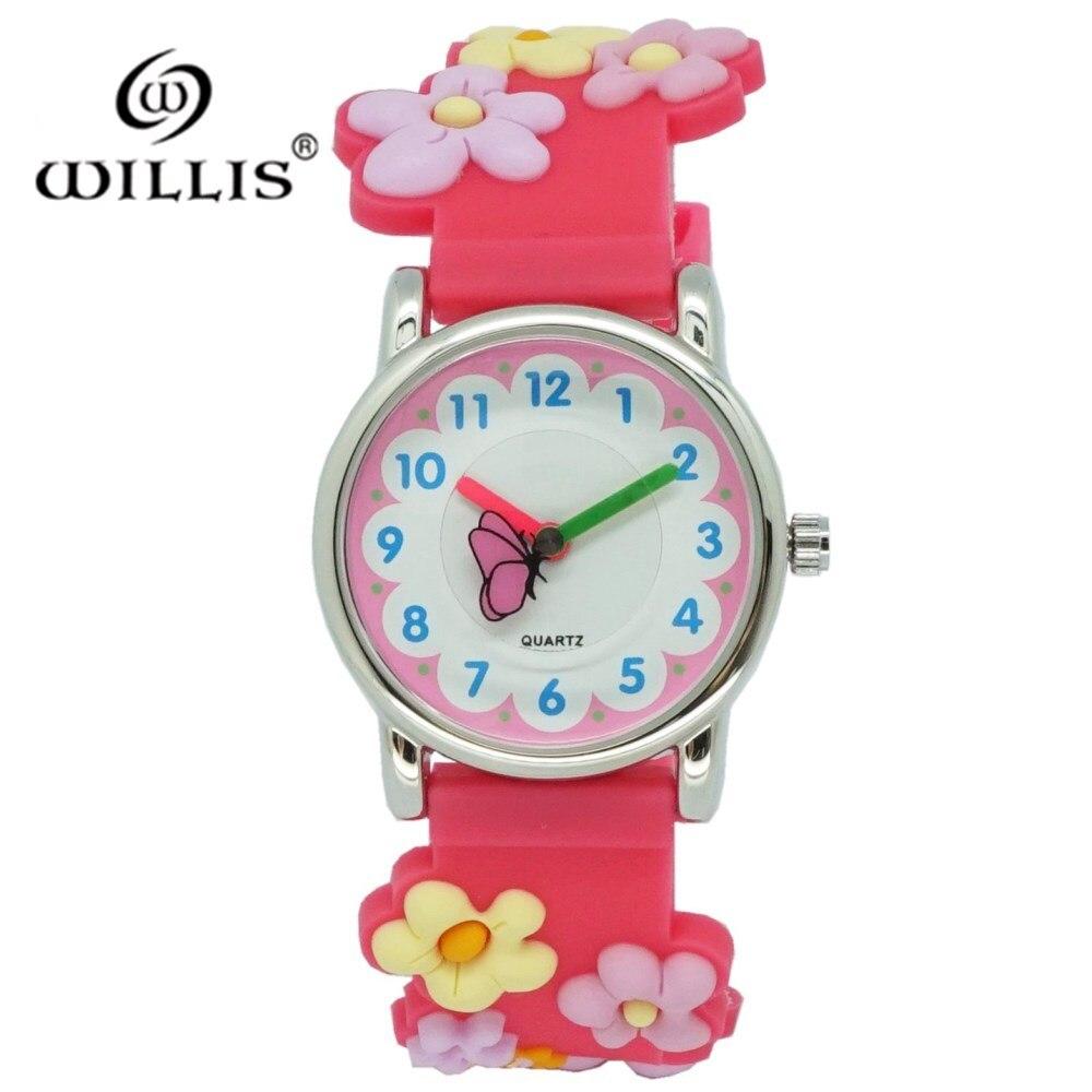 WILLIS Fashion Children Watch Cartoon Watches Kid Girls Waterproof Wristwatch Quartz Plastic Watch Cute Flower Relogio Feminino