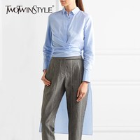 TWOTWINSTYLE Bandage Tunic Long Women S Blouses Shirts Autumn Irregular Sky Blue Tops Big Size Lapel