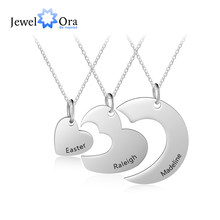 Personalized Stainless Steel Heart Necklace Custom 3 Names Friendship Bff Necklaces for Women Girls (JewelOra NE103183)(China)