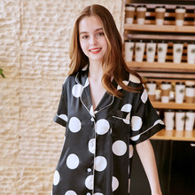 SpaRogerss New Fabric Women Sleep Tops 2018 Printed Silky Sexy Ladies Summer Long Sleep Shirt Sexy Women's Sleep Lounge SQ798