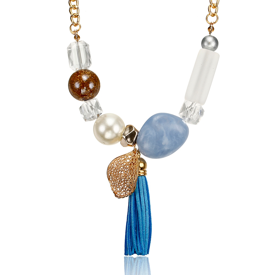 b3230717b19 Women\`s Candy Color Necklace for Women Tassel Necklaces & Pendants Acrylic  Beads Statement Necklace New Jewelry for Gifts NR080