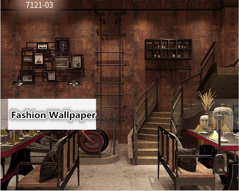 Beibehang Rétro Vintage industrielle papier peint personnalisé en métal de fer papier peint ktv bar hôtel restaurant magasin de vêtements behang