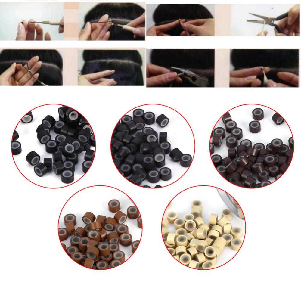 Оригинал 500 шт/бутылка для наращивания волос кольцо из алюминия и силикона Кольца для волос петли для человеческих наращивание волос парик аксессуары