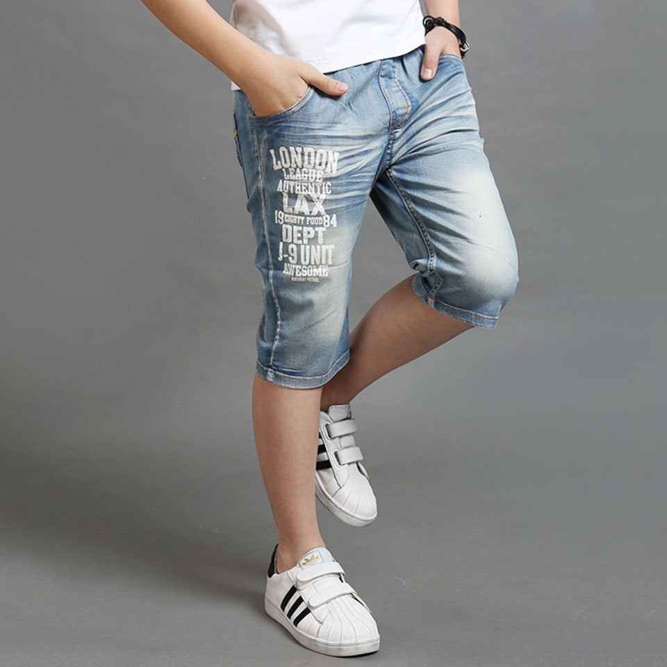 Fashion Baby Boys Jeans Elastic Waist Straight Mid Summer Children Jeans   Shorts   Height 110cm-160Cm Baby Boy Clothes   Short   Pants