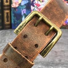 Cinto de couro espesso para homens, super largo 4.3cm, fivela de cinto duplo, 130cm 138cm, cinto longo de luxo ceinture cinto jeans mbt0018