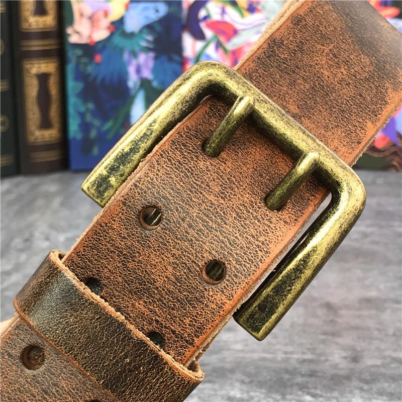 Super Wide 4.3CM Double Pin Belt Buckle 130CM-138CM Long Belt Luxury Thick Leather Belt Men Ceinture Homme Jeans Belt  MBT0018