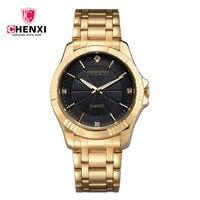CHENXI Gold Watch Mens Women Dress Watches Top Brand Luxury Male Clock Golden Quartz Ladies Watch