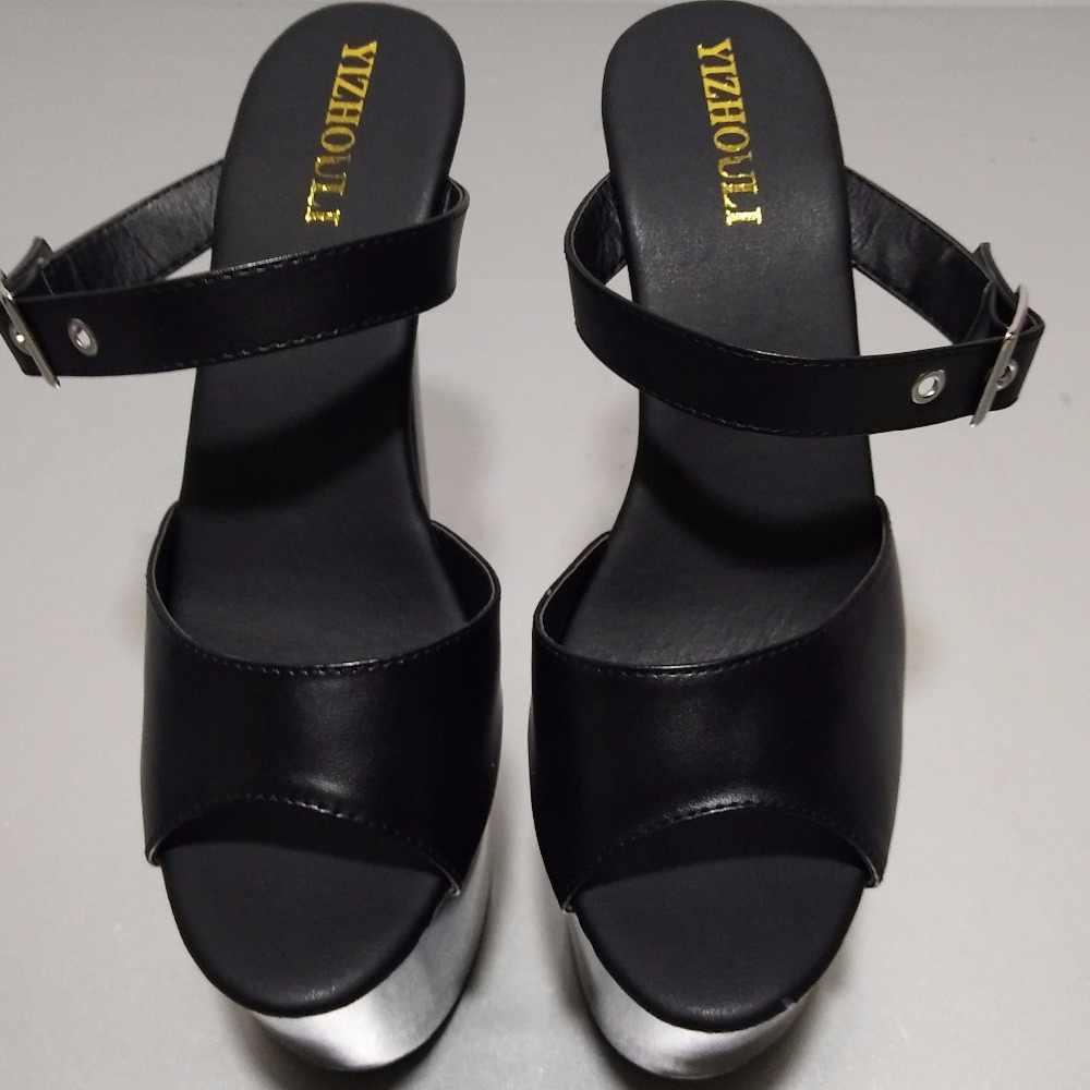 17 センチメートルバックル女性のスリッパ優しい女性人気セクシーな 7 インチプラットフォームエキゾチックダンサーの靴